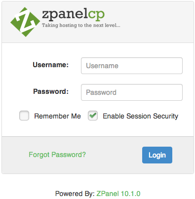 Форма авторизации Zpanel